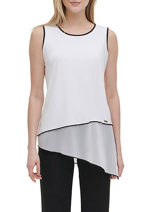 Calvin Klein Sleeveless Asymmetric Mixed Media Trimmed Top