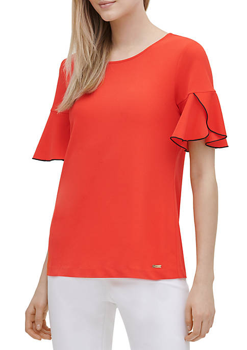 Calvin Klein Piped Tulip Sleeve Knit Top