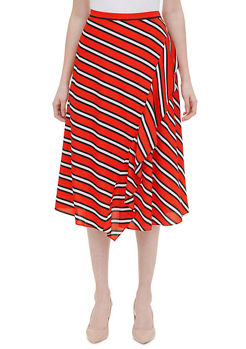 Calvin Klein Striped Ruffle Front Skirt