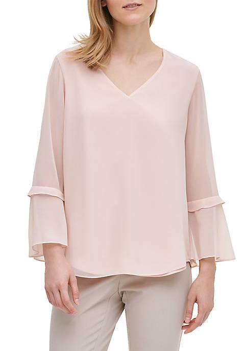Calvin Klein V Neck Ruffle Sleeve Blouse