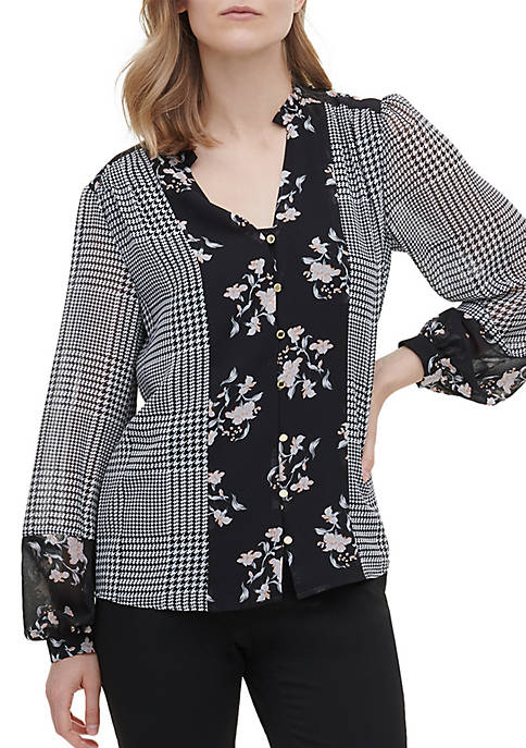 Calvin Klein Floral Houndstooth Mix Ruffle Blouse