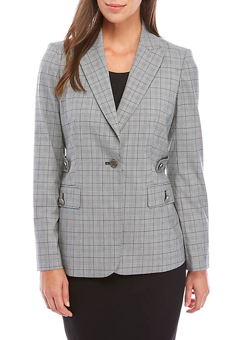 Calvin Klein Glen Plaid Double Breasted Blazer