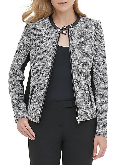 Calvin Klein Faux Leather Trim Tweed Jacket