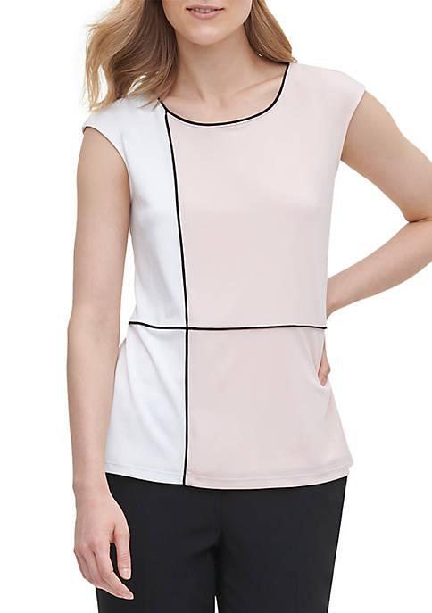 Calvin Klein Color Block Cap Sleeve Top