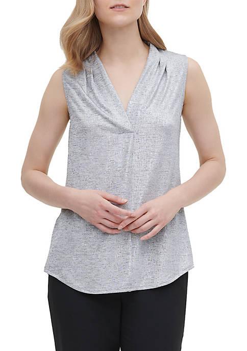Calvin Klein Sleeveless Inverse Pleat Metallic Knit Top