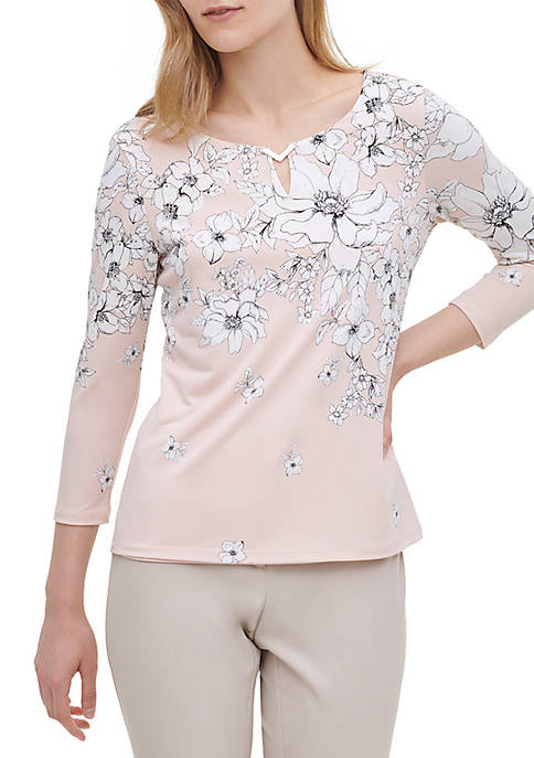 Floral 3/4 Sleeve Hardware Knit Blouse