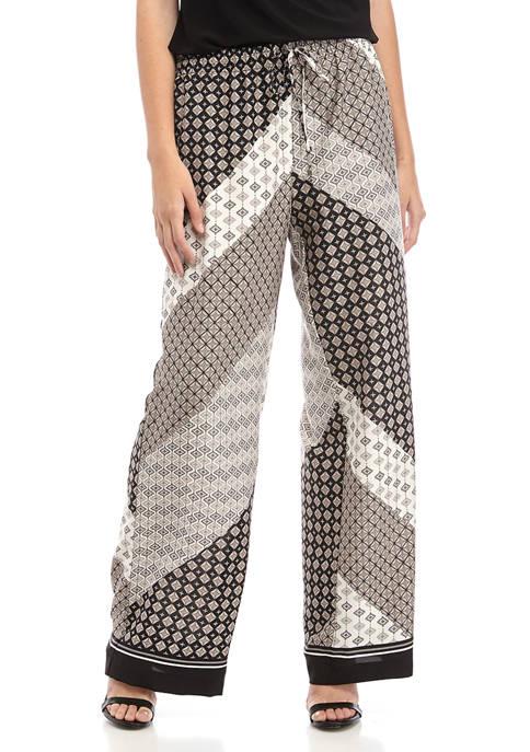 Calvin Klein Womens Geometric Printed Soft Pants