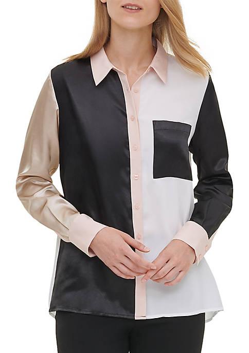 Calvin Klein Womens Long Sleeve Color Block Blouse