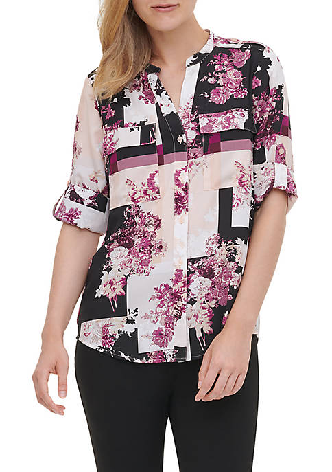 Calvin Klein Womens Printed Roll Sleeve Blouse