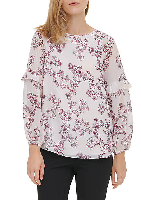Womens Ruffle Trim Printed Blouse