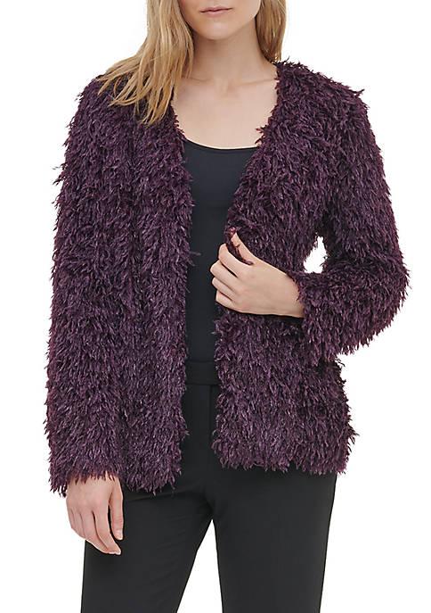 Calvin Klein Womens Fuzzy Feather Jacket