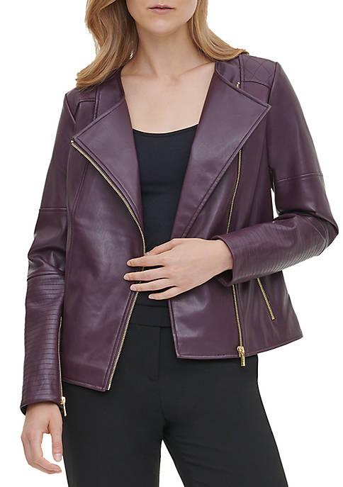 Calvin Klein Womens Faux Leather Moto Jacket