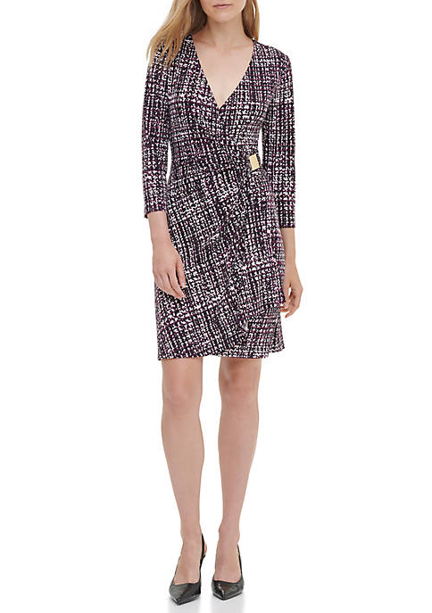 Calvin Klein Womens Print Wrap Dress with Hardware