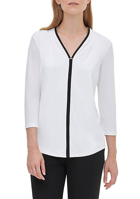 Calvin Klein Womens 3/4 Sleeve V-Neck Knit Top