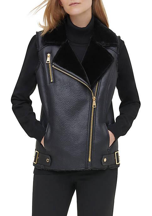 Calvin Klein Womens Fur Trim Faux Suede Moto