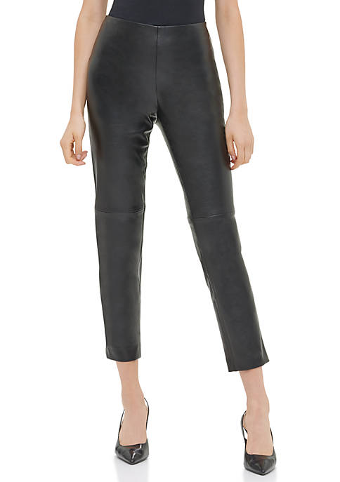 Calvin Klein Womens Pull On Faux Leather Stretch