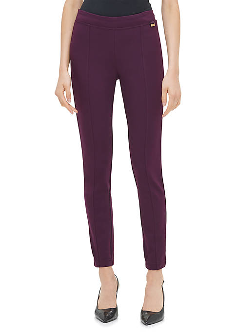Womens Solid Pull On Ponte Pants
