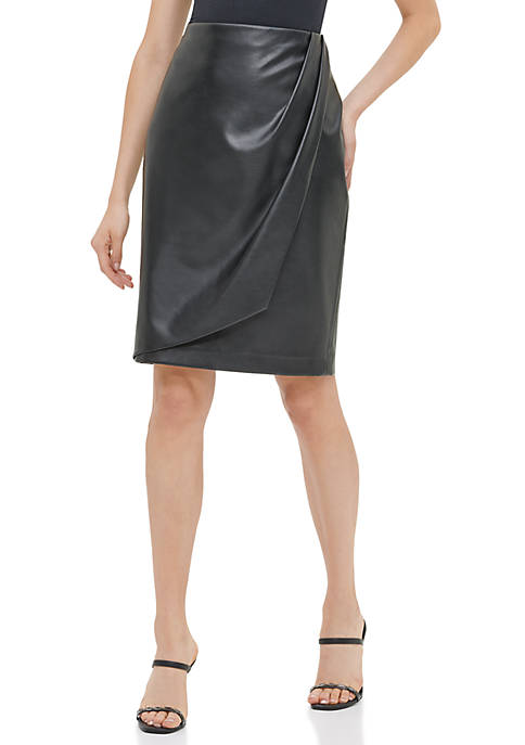 Calvin Klein Womens Faux Leather Wrap Skirt