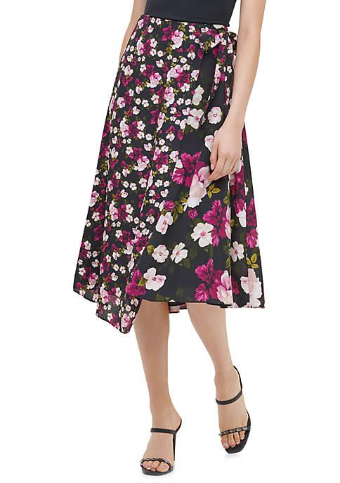 Calvin Klein Womens Mix Print Wrap Skirt