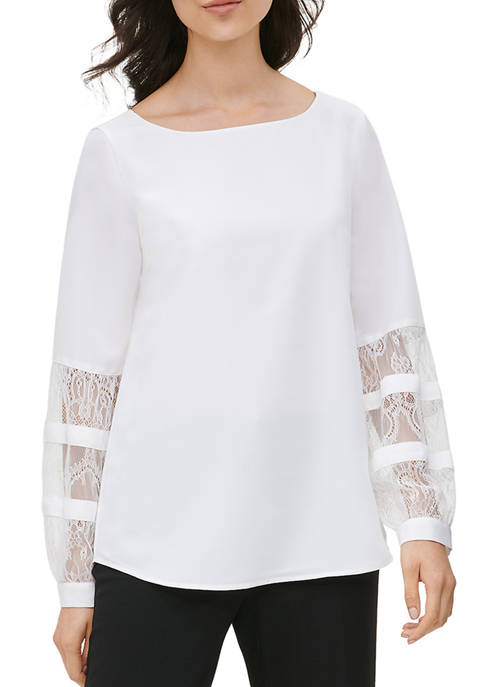 Calvin Klein Womens Lace Yoke Blouse