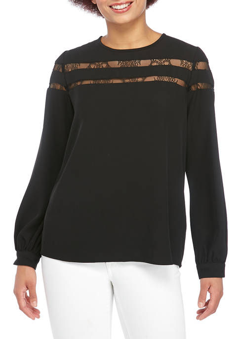 Calvin Klein Womens Long Sleeve Crew Neck Blouse