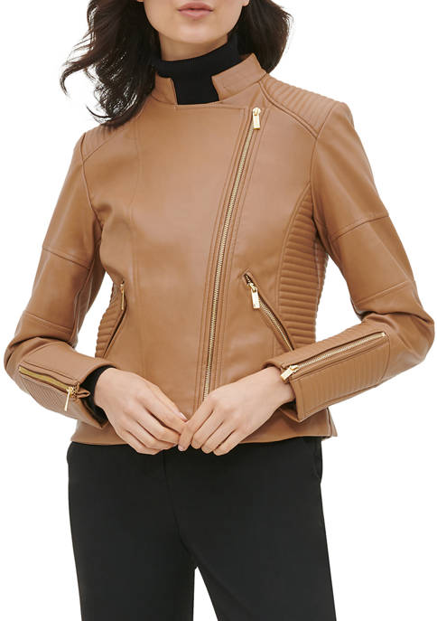 Calvin Klein Womens Seamed Faux Leather Jacket