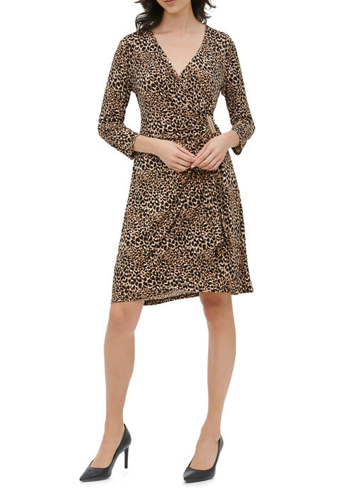 Calvin Klein Womens Printed Wrap Dress