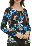 Womens Floral Keyhole Hardware Knit Blouse