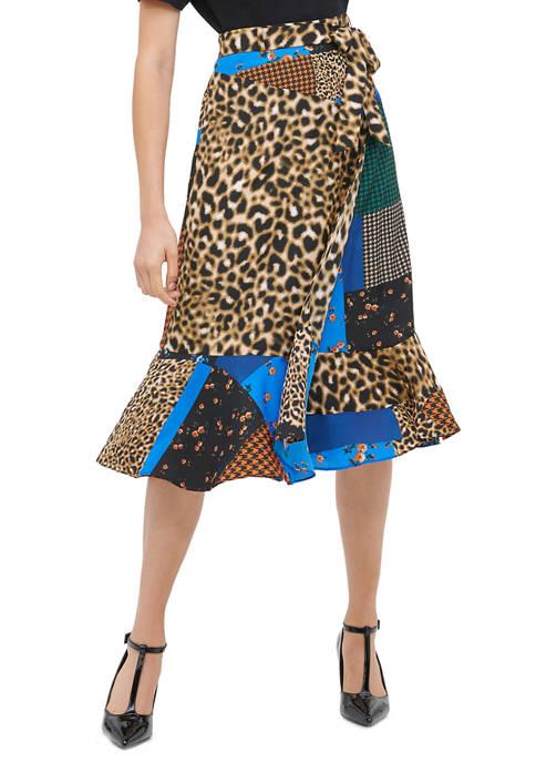 Calvin Klein Womens Ruffle Mix Print Skirt