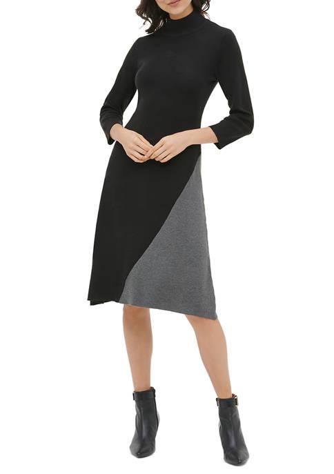 Calvin Klein Womens Asymmetrical Color Block Sweater Dress