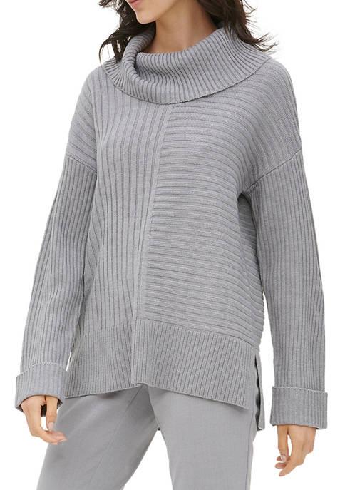 Calvin Klein Womens Mix Rib Cowl Neck Sweater