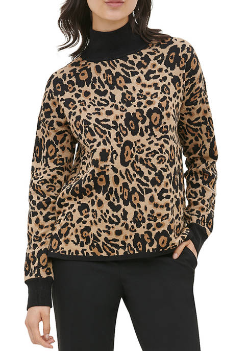 Calvin Klein Womens Leopard Jacquard Mock Neck Sweater