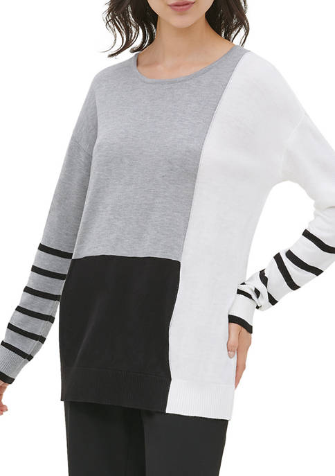 Calvin Klein Womens Color Block Crew Neck Sweater