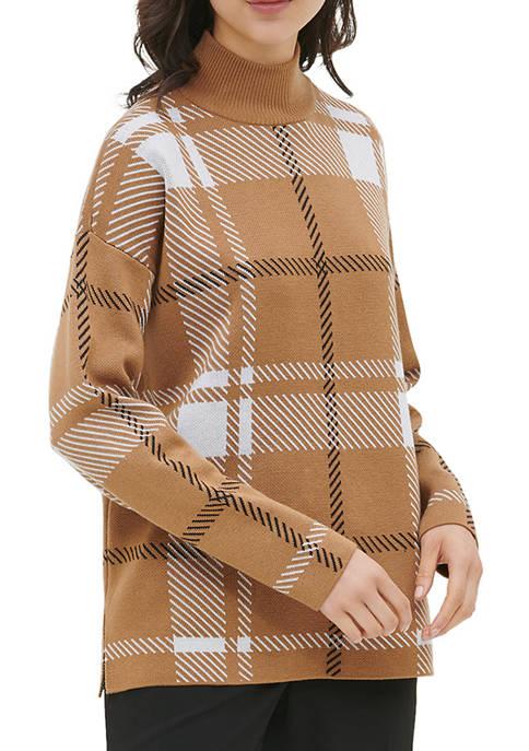 Calvin Klein Womens Plaid Mock Neck Sweater