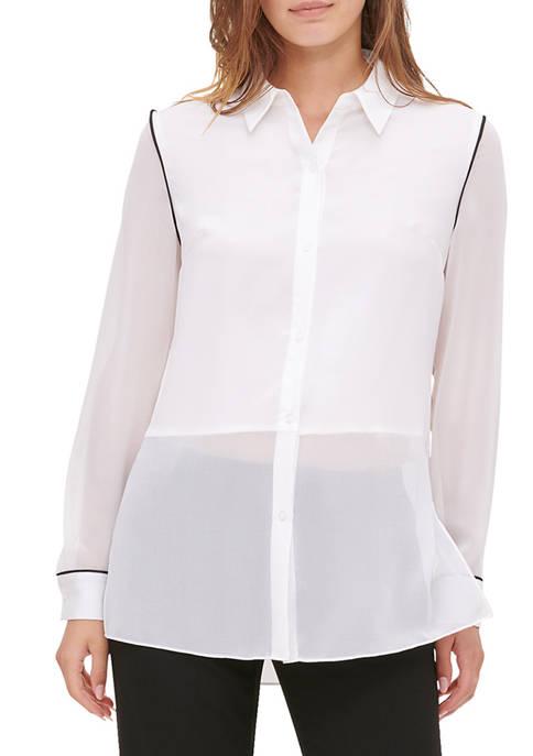 Calvin Klein Womens Long Sleeve Mix Media Shirt