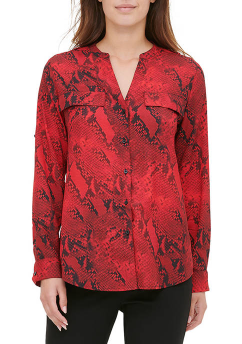 Womens Roll Sleeve Snake Print Top