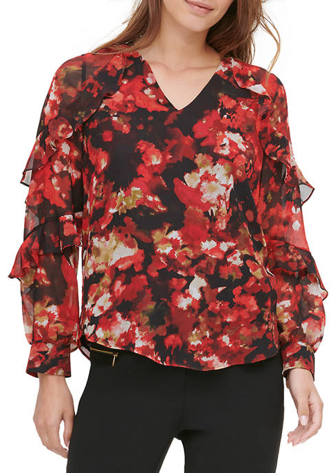 Calvin Klein Womens Tier Ruffle Sleeve Printed Top