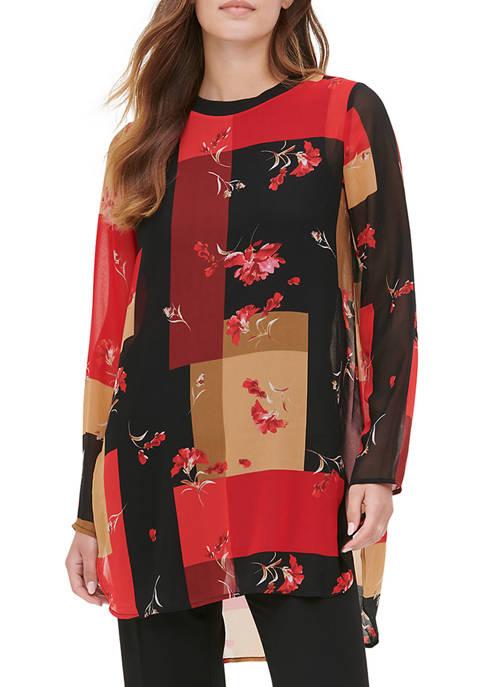 Calvin Klein Womens High Low Printed Top