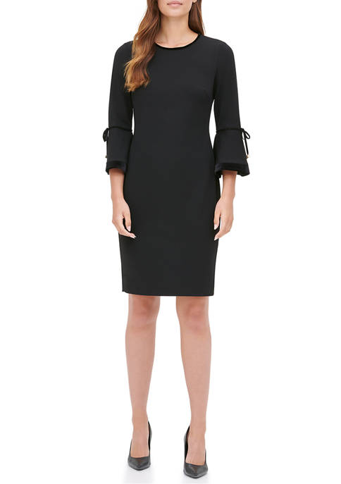 Calvin Klein Womens Velvet Trim Sheath Dress