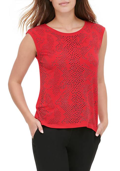 Calvin Klein Womens Sparkle Stud Trim Sleeveless Knit