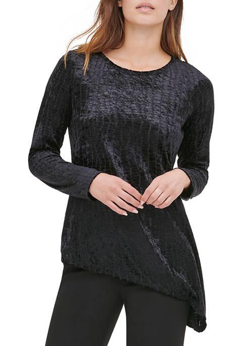 Calvin Klein Womens Asymmetric Croc Velvet Knit Top