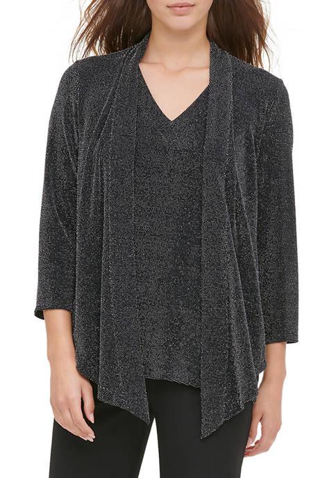 Calvin Klein Womens Pindot 2Fer Knit Top
