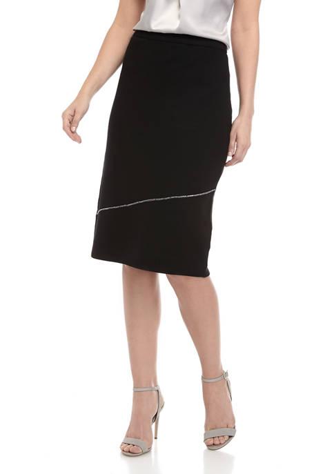 Calvin Klein Womens Seamed Ruffle Sweater Skirt