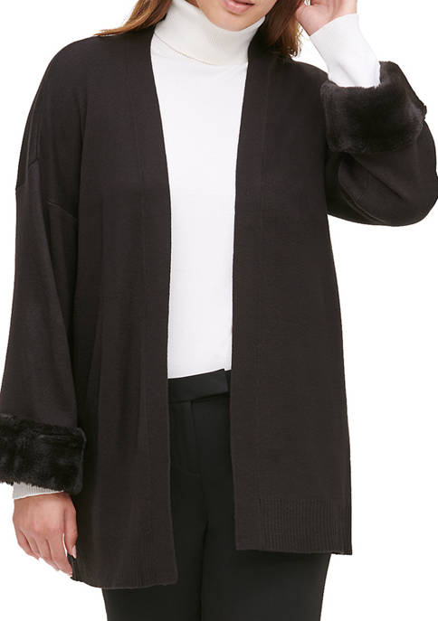 Calvin Klein Womens Long Fur Sleeves Cardigan