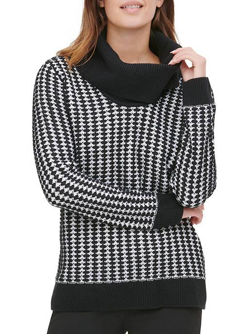 Calvin Klein Womens Cowl Neck 2 Tone Sweater