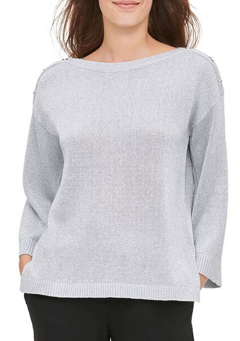 Calvin Klein Womens Boat Neck Button Shoulder Sweater