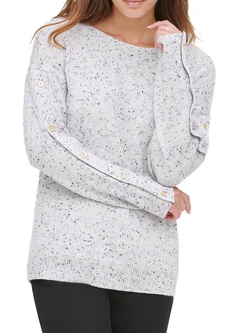 Calvin Klein Womens Tweed Crew Neck Sweater