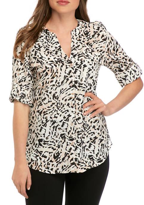 Calvin Klein Womens Printed Roll Tab Sleeve Blouse