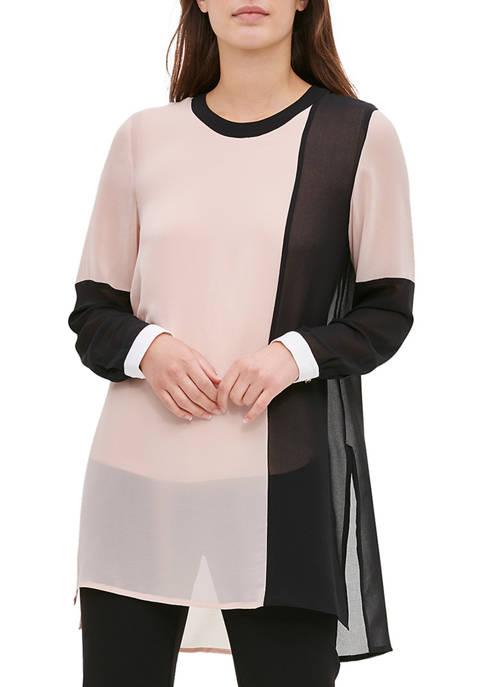 Calvin Klein Womens Colorblock Tunic Blouse