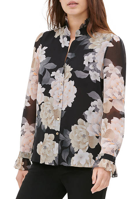 Womens Pleat Detail Printed Blouse